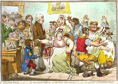 Cow Pox vaccine scare illustration from 1802