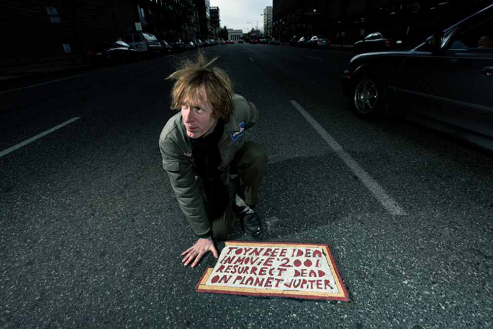 Justin Duerr and a Toynbee Tile