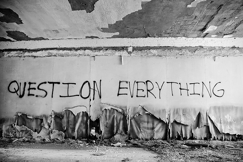 """Question Authority"" graffiti"